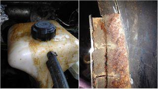 Фото: проблемы УАЗ «Патриот», вытекание антифриза через крышку – слева, коррозия порогов – справа, источник: drive2.ru