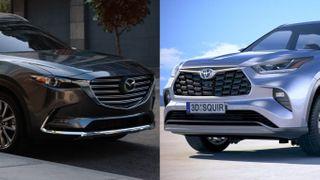 Фото: Слева— Mazda CX-9, справа— Toyota Highlander, источник: Mazda, Toyota