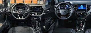 Фото: Салон Volkswagen Polo иHyundai Solaris, источник: Volkswagen, Hyundai