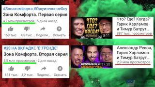 Низкий рейтинг Батрухи: слева— просмотры сериала «Зона Комфорта» занеделю, справа— просмотры видео сТимуром загод.
