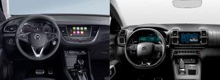 Фото: салон Opel Grandland X и Citroen C5 Aircross, источник: Opel, Citroen