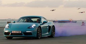 Porsche 718 Cayman выступил против шести гоночных дронов