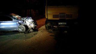 В Минске Fiat столкнулся с КамАЗом без водителя