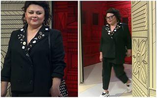 Ирина Костылева на«Модном приговор» вбрючном костюме. Скриншот программы