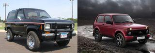 Ford Bronco и LADA 4x4, источники: Ford, LADA