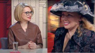 Эвелина Хромченко не сумела сдержать смех после выхода героини. Источник - https://www.youtube.com