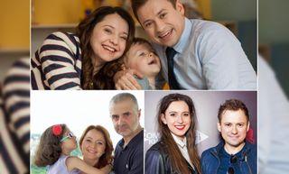 Сверху: семья Сергеевых из сериала, слева снизу - Валентина Рубцова с дочерью и мужем, справа снизу - Андрей Гайдулян с женой.