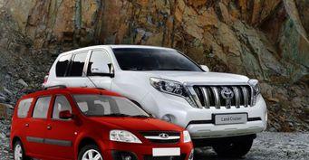 Развалившийся Toyota LCPrado после слабого столкновения сLADA Largus показал рихтовщик