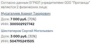 Учредители проекта «PrоТанцы». Данные ссайта rusprofile.ru