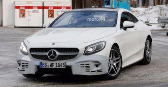 Появились новые шпионские снимки купе Mercedes-Benz S-Class