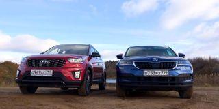 Фото: Слева— Hyundai Creta, Справа— Skoda Karoq, источник: Скриншот сYouTube-канала AUTOMPS