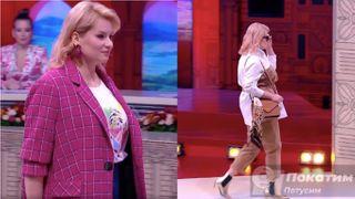Первый выход героини «Модного приговора» в деловом стиле (слева) и второй - в стиле сафари (справа). Фото автора «Покатим».