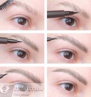 Фото: автор pokatim.ru. Волосковая техника макияжа бровей