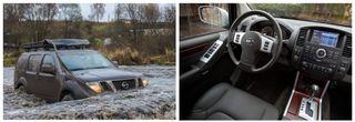 Nissan Pathfinder третьего поколения в воде/ салон авто
