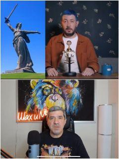 Лебедев оскорбляет монумент «Родина-мать», Шахназаров возмущается поведением блогера. Фото: Youtube