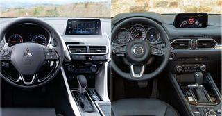 Фото: интерьер Mitsubishi Eclipse Cross и Mazda CX-5, источник: Mazda, Mitsubishi