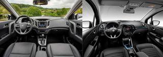 Фото, слева направо: салон Hyndai Creta Би*2 иRenault Kaptur 2020, источники: Hyundai, Renault