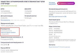 Кадр изофициального источника: rusprofile.ru