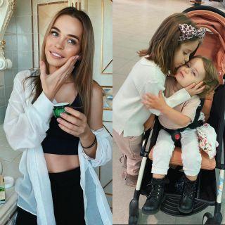 Молодая мама Анна Хилькевич идве еёпрекрасные дочери. Фото Instagram @annakhilkevich