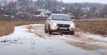 LADA Vesta навариаторе: Проверку снегопадом иморозом провёл автомобилист