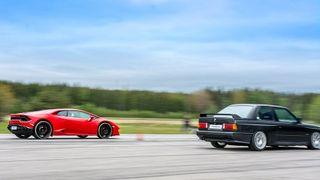 Lamborghini Huracan и BMW M3 с двигателем V10 сравнили в дрэге