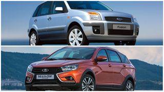 Фото: Ford Fusion VSLADA Vesta SWCross, источник: Carwallpapers.ru иLADA