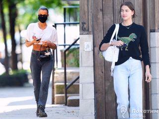 Ирина Шейк выбирает прямые однотонные джинсы, которые садятся хорошо на любую фигуру. Коллаж автора «Покатим»