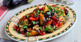 Теплый салат «Сентябрь»: Скабачками ибаклажанами