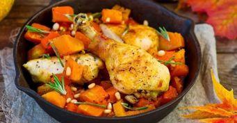 Взрыв вкуса— курица запеченная слуком, морковью, тыквой илимоном