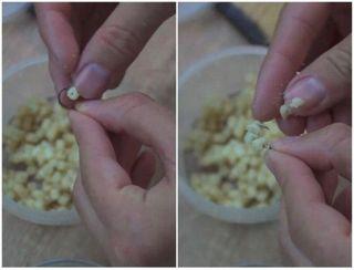 Как правильно нанизать спагетти на крючок. Источник изображения: YouTube-канал Человек Рыбак