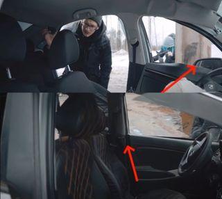 «Солярис» с«Вестой» удар приняли по-разному, сравнивать нельзя. Скриншот: Youtube-канал Kviring Drive