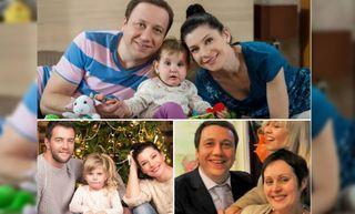 Сверху: семья Ворониных в сериале, снизу слева - семья Екатерины Волковой, снизу справа - Георгий Дронов и его жена Лада.