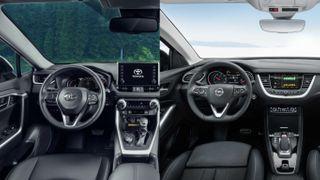 Фото: Салон слева— Toyota RAV4, справа— Opel Grandland X, источник: Toyota, Opel