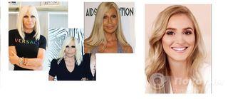 Донателла Версаче «после» и «до» мрачного макияжа. Справа - вариант, который подошел бы модельеру. Источник: Instagram @donatella_versace, @Pinterest
