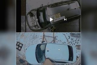 Сверху— VWGolf наскорости 29 км/ч, снизу— LADA Vesta на39 км/ч. Скриншот: Youtube-канал Kviring Drive