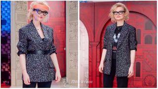 Эвелина Хромченко снимается в апрельских выпусках «Модного приговора» в пиджаке MiuMiu и брюках MaxMara. В образе меняется только ремень и майка. Коллаж автора «Покатим»