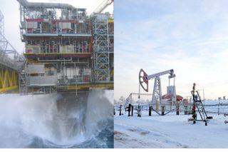 Разные условия добычи нефти. Источники фото: teknoblog.ru, neftok.ru