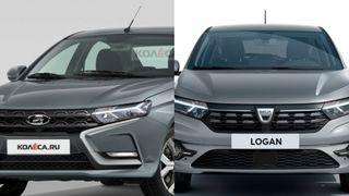 Фото: LADA Vesta FL и Renault Logan, источник: Kolesa и Renault