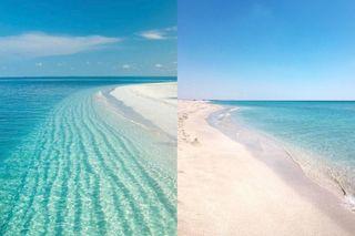Мальдивы слева или справа? В обеих случая это коса Беляус, без фотообработки. Кадры: Instagram