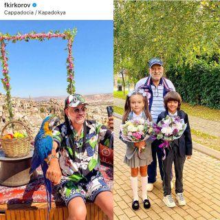 Фотоколлаж: Киркоров на отдыхе в Турции/ Бедрос с детьми певца на линейке 1 Сентября, Instagram @fkirkorov