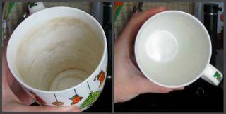 Разница одной итойже чашки «до» мытья самодельным средством и«после»\Источник: YouTube Victoria Budko