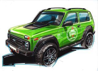 LADA 4×4 50th Anniversary Limited Edition, эскиз Владимира Ярцева, источник: Motor1