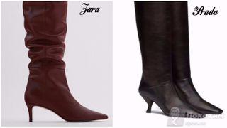 Слева - обувь из масс-маркета за 11 999 рублей, справа - от дома моды Prada. Фото автора «Покатим»