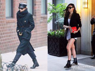 Ирина Шейк носит «армейские» ботинки как втеплое, так ихолодное время года. Коллаж автора «Покатим»