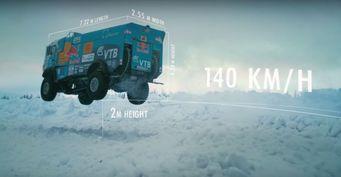 В сети появилось видео с летающим раллийным КАМАЗом