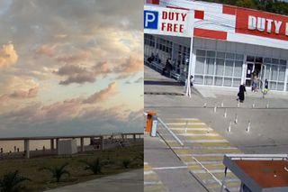Пляж в Абхазии и вход в магазин у таможни, начало августа. Кадры: «ВКонтакте» и веб-камера у КПП