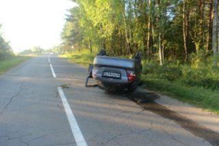 На шоссе М-8 перевернулся автомобиль «Шевроле»
