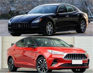 Дорогой Maserati— сверху, бюджетный JAC— снизу. Коллаж: портал «Покатим»