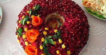 Салат «Гранатовый браслет» стунцом: Украшение праздничного стола