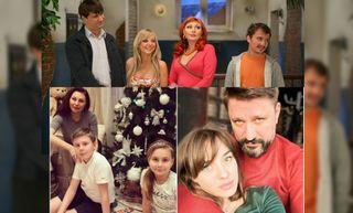 Сверху: семья Букиных, слева снизу - Наталья Бочкарёва с детьми, справа снизу - Виктор Логинов с женой.